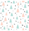christmas trees seamless pattern childish vector image vector image
