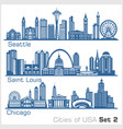 cities usa - seattle saint louis chicago vector image vector image