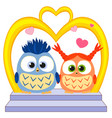 cute baby owl in love wedding poster heart arc vector image vector image
