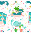 cute seamless pattern with house plants cats vector image vector image