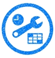 Date And Time Setup Rounded Icon Rubber Stamp vector image vector image