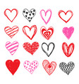 doodle love heart valentines day set vector image vector image
