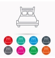 Double bed icon Sleep symbol vector image vector image