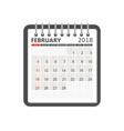february 2018 calendar calendar notebook page vector image vector image