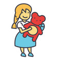 girl with teddy bear concept line icon vector image vector image