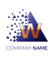 golden letter w logo symbol in blue pixel triangle vector image