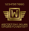golden letters and numbers monogram winged frame vector image vector image
