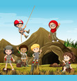 kids camping out by the cave vector image vector image