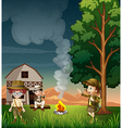 Kids near the campfire vector image vector image