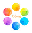 low poly circles with different colours vector image vector image