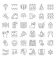 merry christmas icon set 3 filled outline vector image