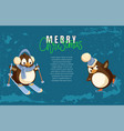 merry christmas penguin skiing active winter hobby vector image vector image