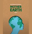 mother earth day poster of paper cut woman head vector image vector image