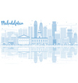 Outline Philadelphia Skyline with Blue Buildings vector image vector image