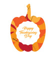 pumpkin silhouette with a label thanksgiving day vector image vector image