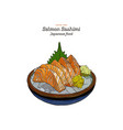 salmon sashimi raw fish in traditional japanese vector image