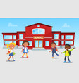 school building and kids playing games at break vector image vector image