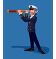 Sea captain smoking a pipe and looking through vector image
