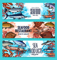 seafood banners of sketch fresh fish vector image vector image