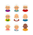 set avatars older people kit avatars elderly vector image vector image