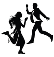Silhouette of the girl and the guy jumped vector image vector image