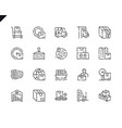 simple set package delivery line icons for website vector image