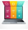 Text boxes infographics on laptop vector image vector image