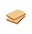 two slices of detailed fresh wheat bread loaf vector image