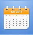 usa calendar for july 2017 week starts on sunday vector image vector image