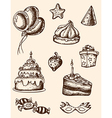 vintage hand drawn birthday elements vector image vector image