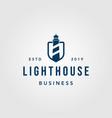 vintage lighthouse shield logo design vector image vector image