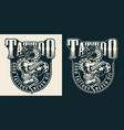 vintage tattoo studio monochrome label vector image vector image