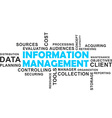 word cloud information management vector image vector image
