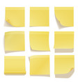 yellow sticky note realistic office information vector image