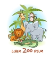 zoo cartoon animals logo vector image vector image