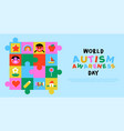 autism awareness day kid puzzle game mosaic vector image vector image