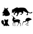 black silhouette set different animals cartoon vector image vector image