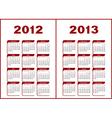 calendar 2012 - 2013 vector image vector image