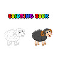cartoon coloring book ram design isolated on vector image