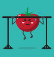 cartoon tomato health strong background vector image