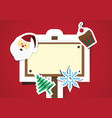 christmas objects and sign board with copy space vector image vector image