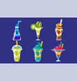 collection smoothies bright layered fresh vector image