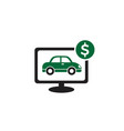 computer screen with green car and dollar sign vector image vector image