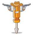 cowboy screwdriver character cartoon style vector image vector image