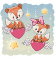 cute lovers foxes vector image vector image