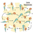 cute yoga kid surya namaskar vector image