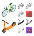 different types of transport cartoonblackflat vector image
