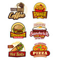 fast food restaurant meal retro labels design vector image vector image