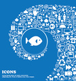 fish icon sign Nice set of beautiful icons twisted vector image vector image