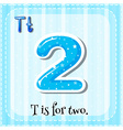 Flashcard alphabet T is for two vector image vector image